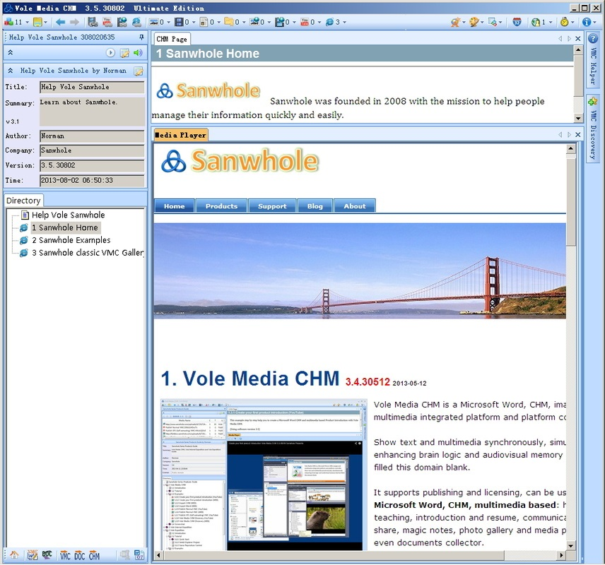 Vole Media CHM view website